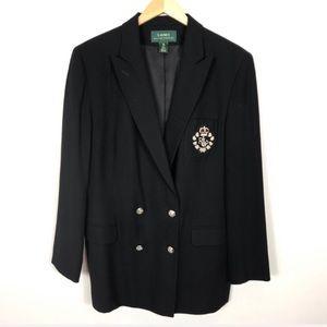 Ralph Lauren | Vintage Wool Crest  Black Jacket 16